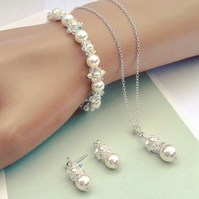 Wedding Jewellery Set - Bracelet Pendant & Earrings