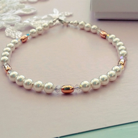 Pearl, Rose Gold and Swarovski Crystal Bracelet