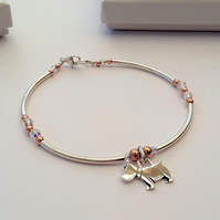 Sterling silver dog charm bracelet with rose gold and Swarovski crystal beads
