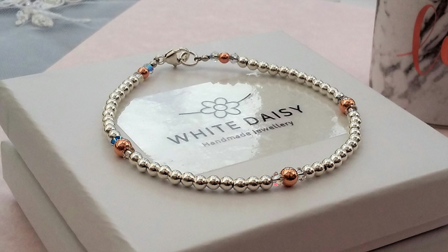 Glittering Sterling silver, Swarovski crystal and rose gold bracelet