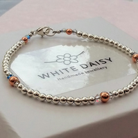 Sterling silver, Swarovski crystal and rose gold vermeil bracelet