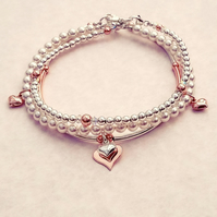 Rose Gold and Sterling Silver Triple Stacker Set