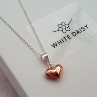 Rose Gold Vermeil Puffed Heart Pendant on a Sterling Silver chain