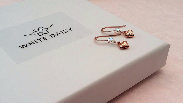 f9757a249 Rose Gold Vermeil Puffed Heart Earrings with a ... - Folksy