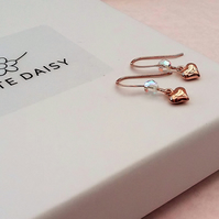 Rose Gold Vermeil Puffed Heart Earrings with a sparkle of Swarovski Crystal