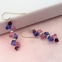 New ultraviolet themed Sterling silver and Swarovski crystal earrings.