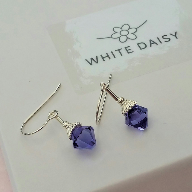 Sterling Silver and Swarovski Crystal Earrings in Tansanite REDUCED IN PRICE