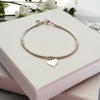 Stylish Sterling Silver Heart Bracelet