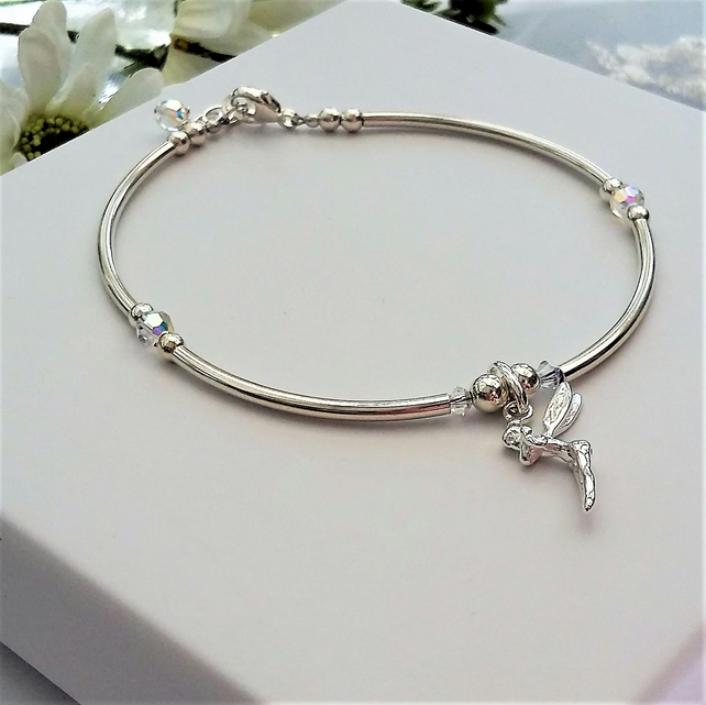 Fairy bracelet Sterling silver and crystal  Mummy and Daughter sizes available