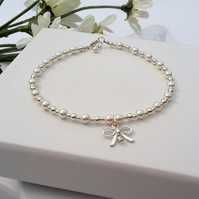 Pretty Sterling Silver and Pearl Bow Bracelet