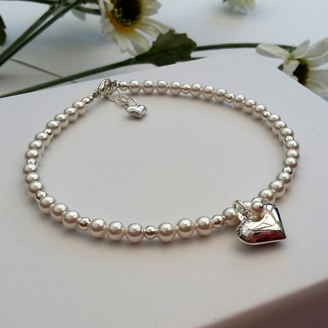 Bride or Bridesmaids Pearl and Sterling Silver Heart Bracelet