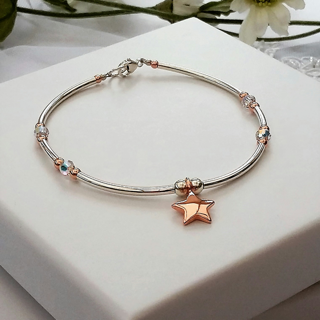 Rose Gold Star Bracelet on a Sterling Silver and Swarovski crystal bangle