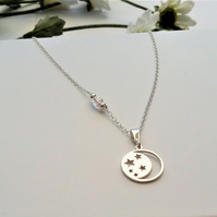 Sterling Silver Moon and Stars necklace with a sparkle of Swarovski