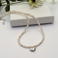 Pearl & Sterling Silver Heart Necklace
