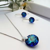 Sterling Silver and Sparkly Swarovski Bermuda Blue Crystal pendant