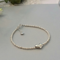 Puffed Sterling Silver Heart and Pearl Bracelet