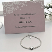 Sterling Silver Heart & Pearl Bridesmaid Bracelet with gift card