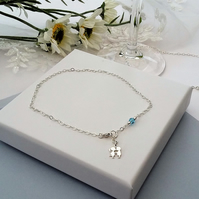 Wedding Anklet kissing couple charm, something blue REDUCED PRICE