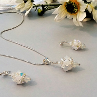 Unique, Handmade Sterling Silver and Swarovski Crystal Pendant and Earrings