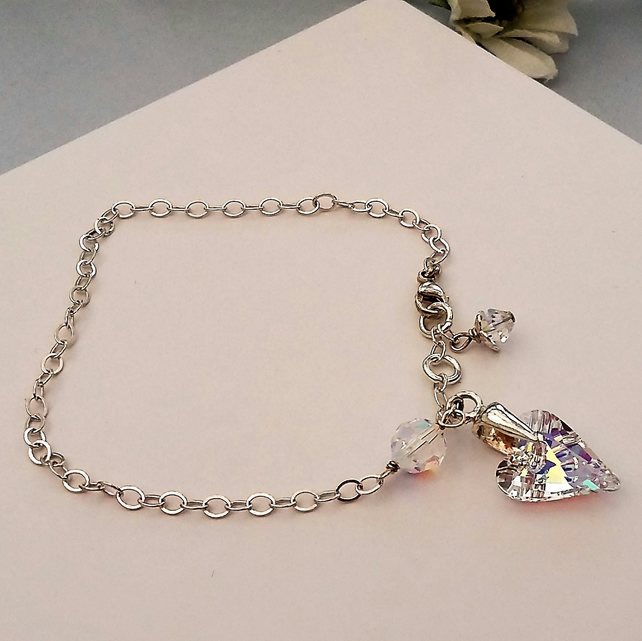 Sparkly Sterling Silver Bracelet with a Swarovski Crystal Heart.