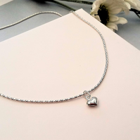 Sparkly Sterling Silver Popcorn Chain with a tiny Puffed Heart. FREE POSTAGE