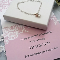 Bridesmaids Gift Sterling Silver Heart Bracelet With Free Thank You Card