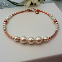 Rose Gold and Pearl Bracelet