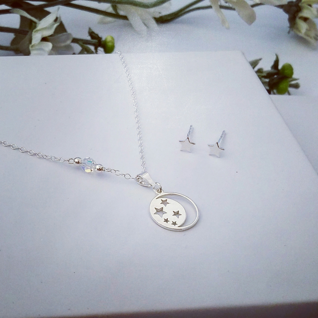 Sterling Silver Moon and Stars Necklace with FREE Star Earrings