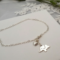 Elephant and Puffed Heart Charm bracelet in Sterling Silver