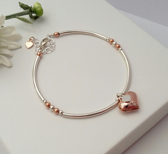 Rose gold and Sterling Silver puffed Heart Bracelet