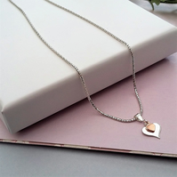 Understated Elegant Style, Sterling Silver and Rose Gold Pendant