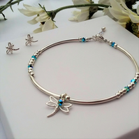 Sterling Silver dragonfly bracelet with free stud earrings