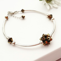 Sterling silver and Swarovski Golden Dorado Crystal Bracelet