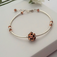 Rose Gold Swarovski Crystals and Sterling Silver Bracelet