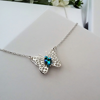Sterling Silver Filigree Butterfly Pendant adorned with Swarovski Crystals