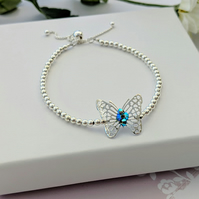 Slider Fastening Butterfly Bracelet Adorned With Beautiful Blue Crystal
