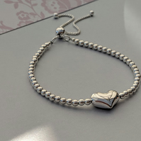 Sterling Silver Heart Slider Bracelet