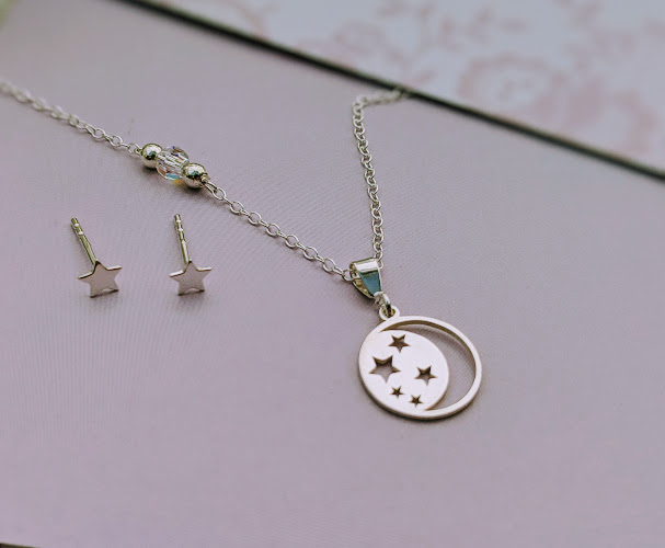 Sterling Silver Moon and Stars Necklace with stud earrings