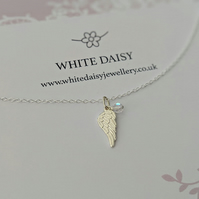 Sterling Silver Angel Wings Necklace with a sparkle of Swarovski crystal SALE