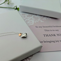 BRIDESMAIDS Sterling Silver heart pendants with free Gift Card.