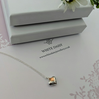 Sterling Silver Puffed Heart Pendant with a smaller flat rose gold heart