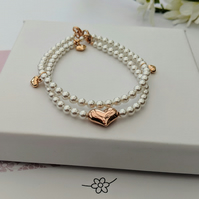 PEARL AND ROSE GOLD STACKED SET OF TWO BRACELETS