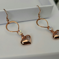 Rose Gold Heart Earrings with a sparkle of Swarovski crystal introductory offer