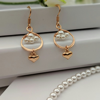 Rose Gold infinity and Pearl earrings, love forever symbolic earrings