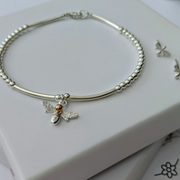 Sterling Silver Bee Bracelet with Free Bee Stud Earrings for a limited time