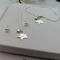 Elephant Necklace and Bracelet Set with free elephant stud earrings