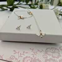 Bee bracelet and necklace set with free stud earrings sterling silver