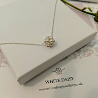 Handmade Luminous Pearl Necklace on a Sterling Silver Chain