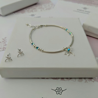 Dragonfly bracelet in sterling silver and crystal with free stud earrings