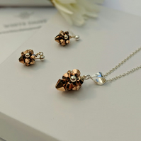 Rose gold pendant and earrings reduced price SALE